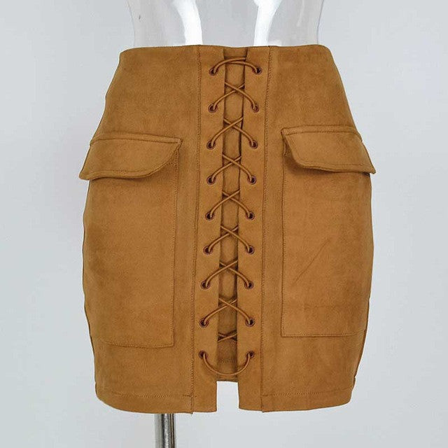 Smoves Women's Vintage High Waist External Pocket Tight Suede Lace