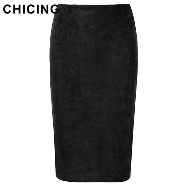 CHICING 2016 Women Suede Multi Color Pencil Midi Skirt Female Autumn Winter Basic Tube Bodycon Skirts Saia Femininas A1609022
