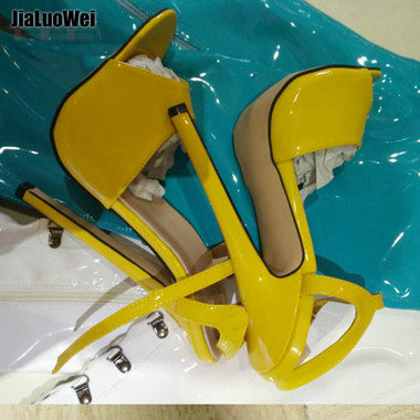 7inch high heel Unisex sandals Sexy Ankle Strap high-heeled shoes