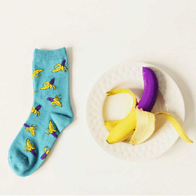 Brand Caramella Novelty Purple Banana Cartoon Socks Korean Women and