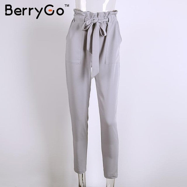 BerryGo Stringyselvedge chiffon high waist harem pants Women summer