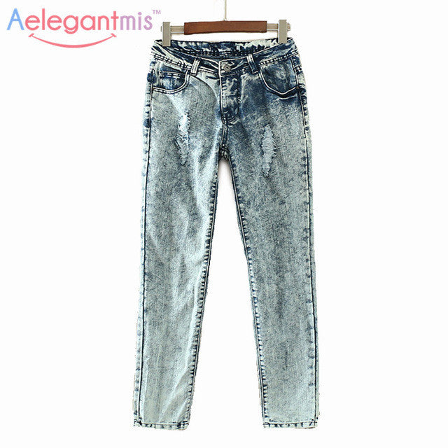 Special Offer Aelegantmis Vintage Hole Jeans Women Casual Mid Waist