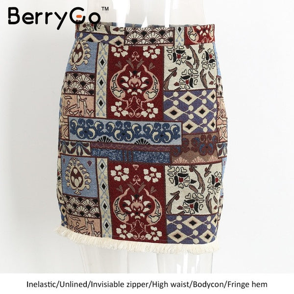 BerryGo Short boho style chic pencil skirt female High waist skirts