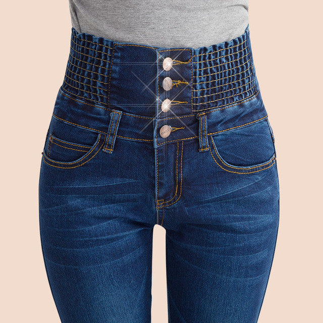 Fashion High Waisted Jeans for women 2016 new Elastic Long Skinny