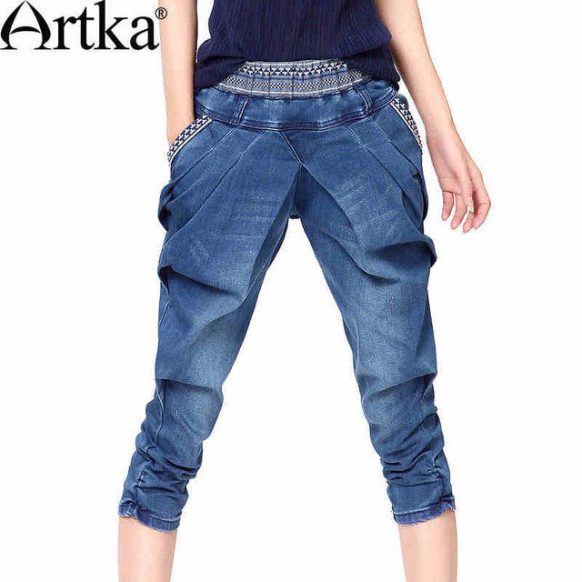 Artka Women's Summer Slim Fit Embroidery Mid-Calf Jeans Vintage