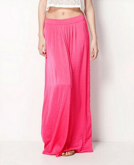 Summer Vintage Long Skirt Womens saia Elastic Waist Elegant Thin