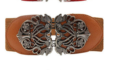 Amazing New Alloy Flower Vintage Belt For Women Lady Wide Elastic Belt