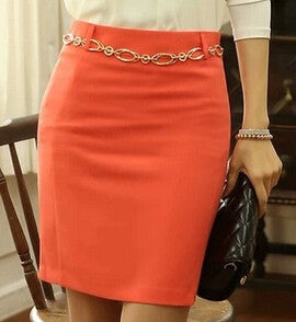 Spring and Summer Orange and Black color Slim Hip Pencil Skirt High