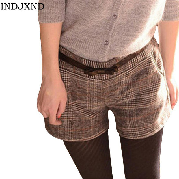Winter Plus Size Shorts Women Large Khaki Thicken Plaid Casual Elastic