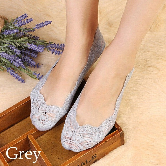 1 Pair of 2017 Hot Summer Women Girls Cotton Lace Antiskid Invisible