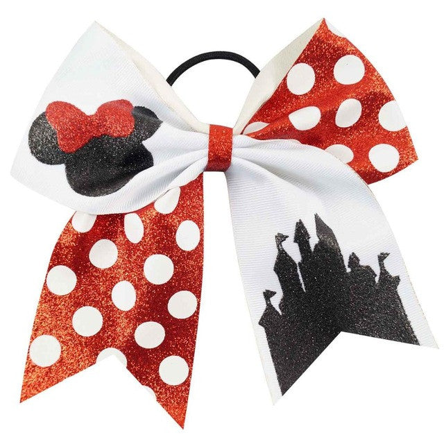 7'' Cute Children Boutique Printed Glitter Cheer Bow With High Quality