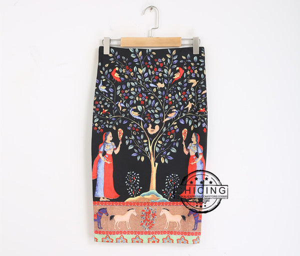 CHICING 2016 Summer Women Ethnic Painting Print Midi Pencil Skirts Back Split High Waist Wrap Black Bodycon Tube Saias A1507008