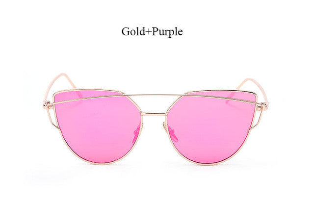Cat Eye women sunglasses Brand designer UV400 Rose Gold Mirror Cheap