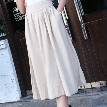 New 2015 summer autumn women's linen skirts, mid-calf length pleated