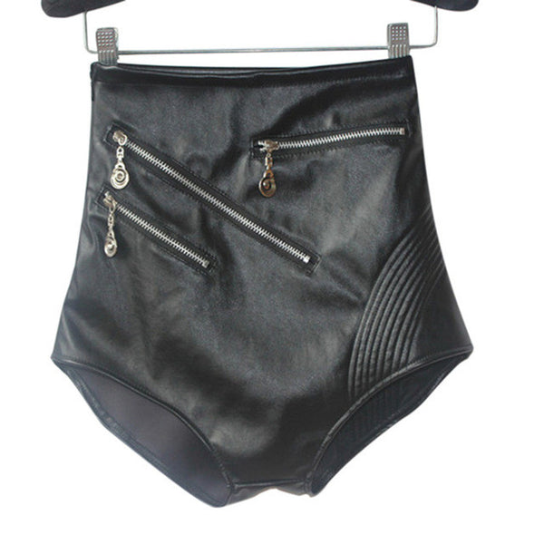 High Quality Faux Leather Shorts Sexy Black High Waist Shorts Women