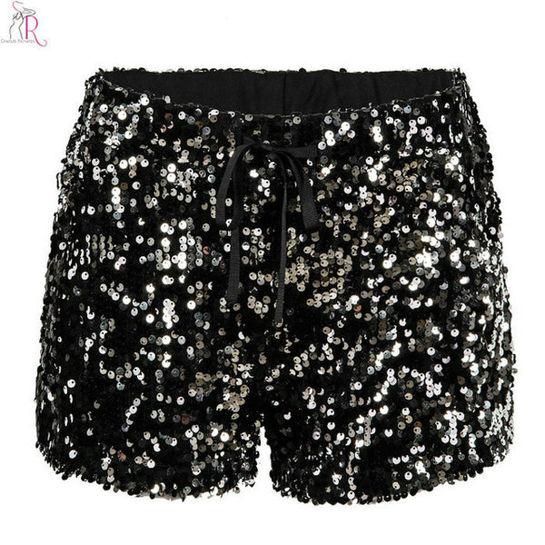 Black Sequined Drawstring Elastic Waist Shorts Slim Casual Bling-bling Streetwear Party 2017 Women Summer