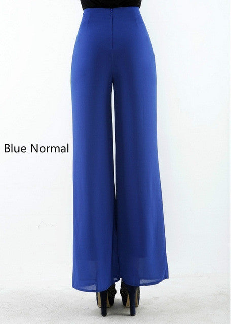 Women Ladies Vintage Loose High Waist Long Trousers Chiffon Side Split