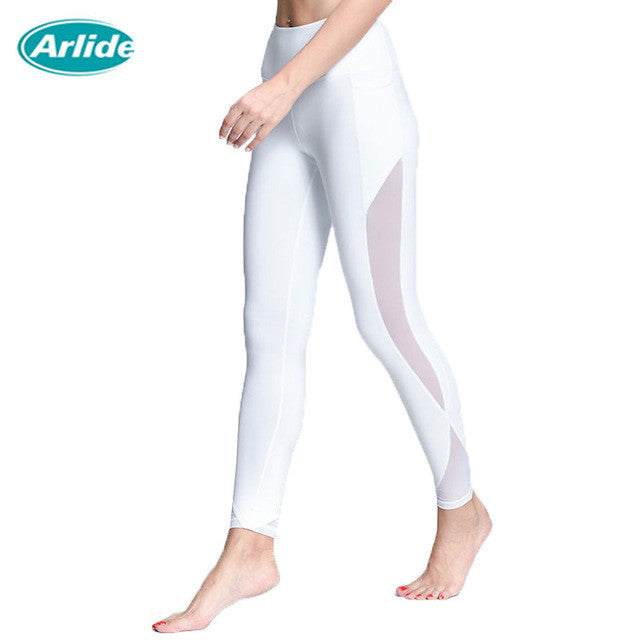 Arlide Women Yoga Compression Pants Mesh Leggings Pants Elastic Tights