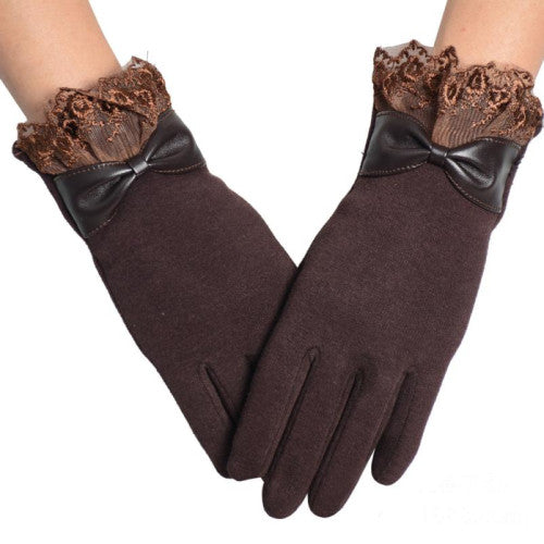 Amazing Solid Color Fashion Lace Winter Warm Touch Screen Gloves for