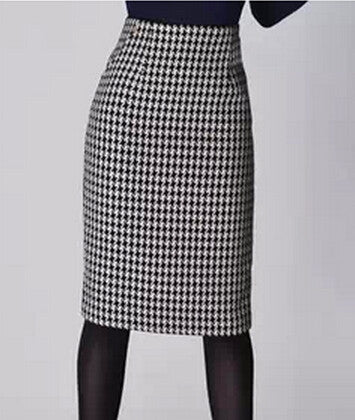 Fashion Women Spring Autumn Winter Houndstooth Skirt Slim Fit Formal