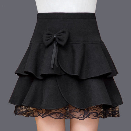 Skirts 2016 new autumn and winter women woolen bow flounced skirts