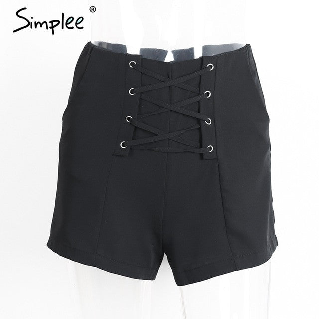 Simplee Cross lace up shorts women Sexy zipper high waist shorts