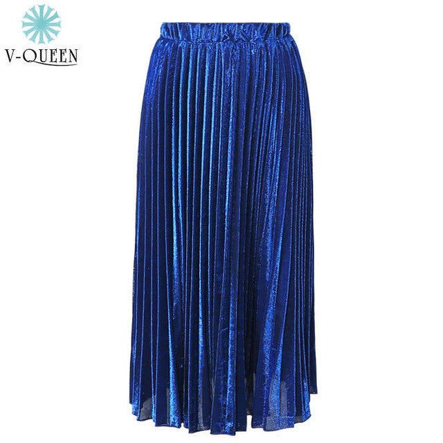 Samuume 2016 Bright Gold Sequined Stretch High Waist Pleated Novelty
