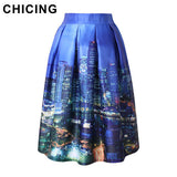 CHICING Painting Skirts New 2016 Spring Summer Vintage Printed Ball Gown Flared Tutu Pleated High Waist Ladies Midi Saia A141208