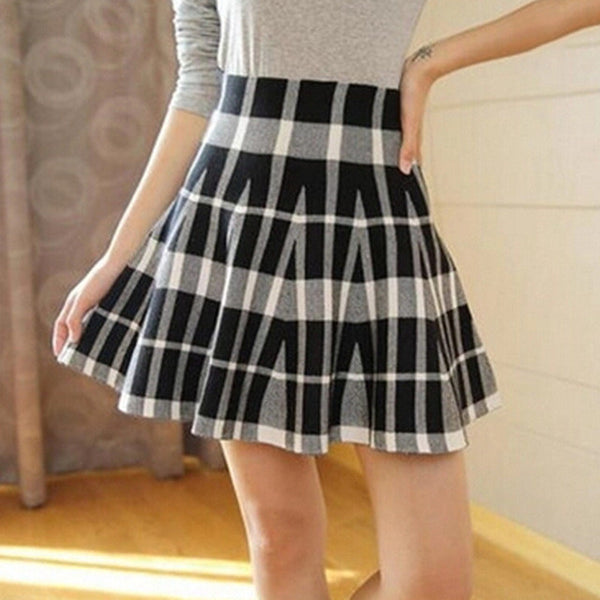 Spring Skirts Women's 2017 Autumn New Design Fashion High Waist Short Mini Pleated Wool Plaid Women's Skirts