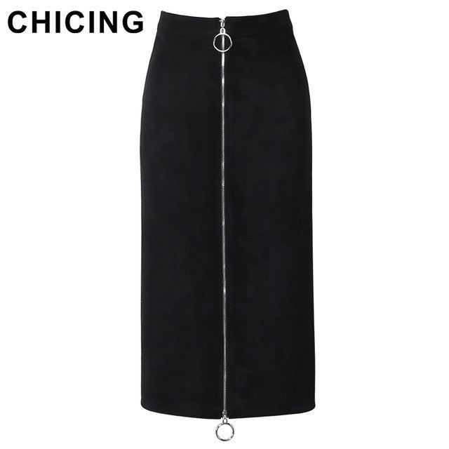 CHICING 2016 Women Suede Circle Zipper Black Pencil Midi Skirt 2017