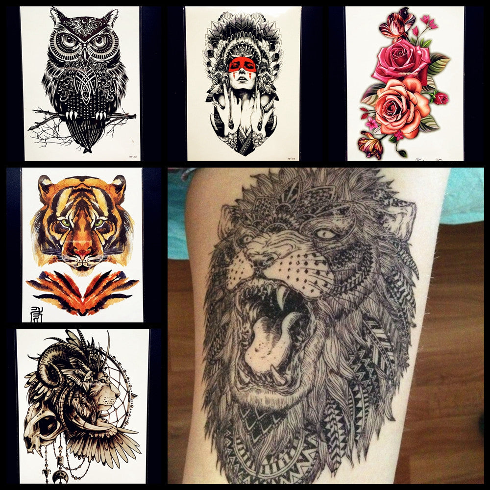 Hot Fashion Indian King Lion Head Designs Flash Tattoo Black Love Tatto Temporary Sticker Hb577