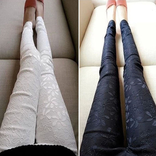 New Sexy Women Slim Embroidered Lace Stretch Leggings Pencil Pants Skinny Jeans female Fashion Capris Trousers Black Small Size