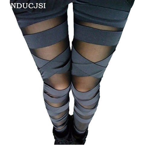 Bandage Leggings Charming Leggins Slim Women Punk Legins Lady 2017 Fashion Sexy Splicing Pants Stretch Black Trousers Patchwork