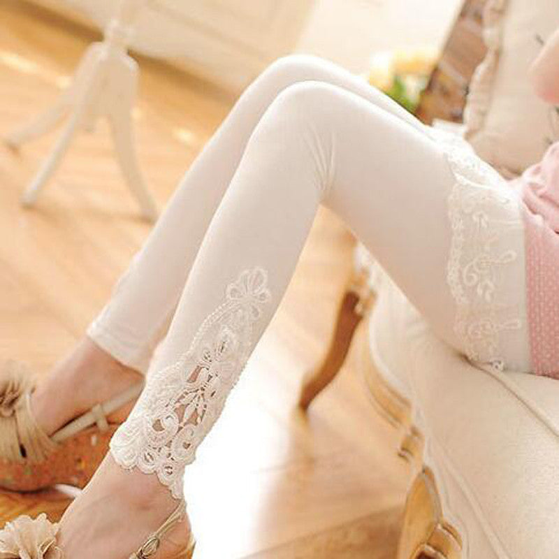 cotton leggings S- 7XL plus size leggings lace decoration long