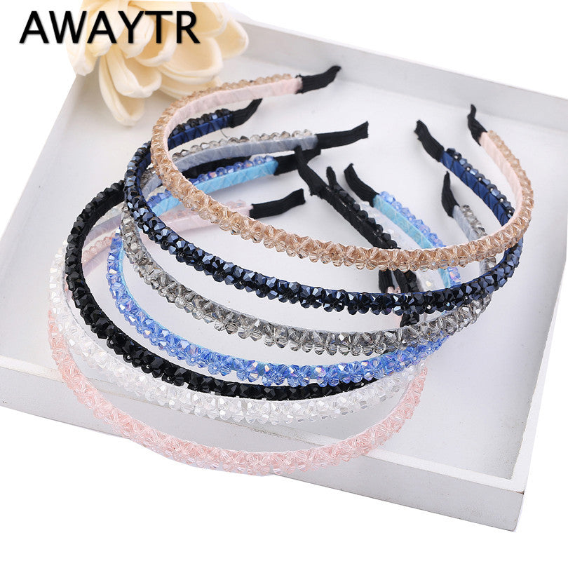 AWAYTR 2017 Fashion Headwear Girl Women Handmade Crystal Beaded Hair