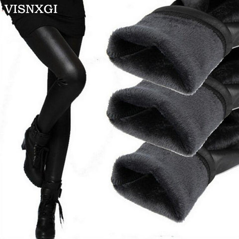 new 2017 thickening black leather boots leggings skinny pants winter warm women's trousers winter pants for women high quality