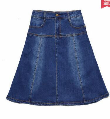 New Arrival Plus Size XS to 7XL Pockets Jeans Pleated Skirts Women