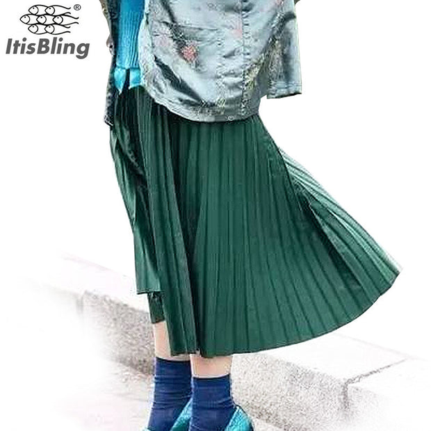 Women Skirts New Fashion Women's High Waist Pleated Solid Color