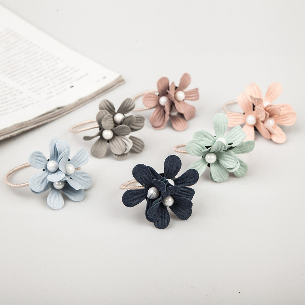 6 Light Colors Triple Satellite Flowers White Rubber Bands Fashion