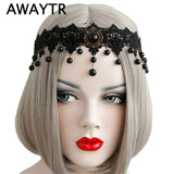 AWAYTR Women Elastic Headband Crown Black Flower Lace Chain Faux Pearl