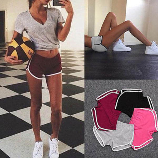 2017 Hot Sale Drawstring Shorts Women Casual Loose Cotton Contrast Binding Side Split Elastic Waist Short Femme
