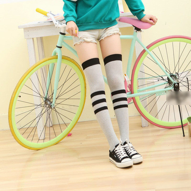 6 Colors Fashion Style Women's Over Knee High Socks Vertical Wide