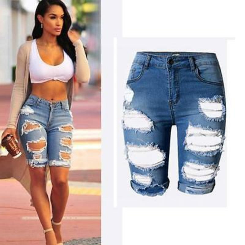 Womens Ladies High Waist Ripped Hole Washed Short Jeans Size  Plus size