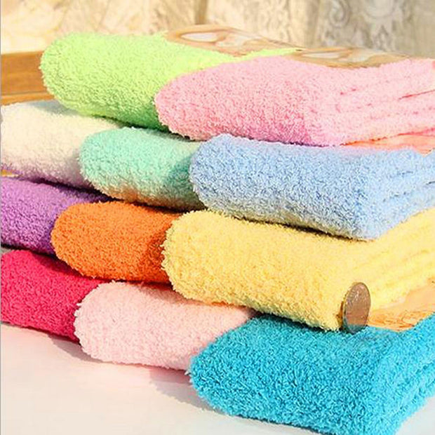 Women Bed Socks Pure Color Fluffy Warm Winter Kids Gift Soft Floor