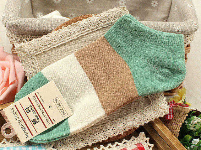 5Pair Women Cotton Blends Socks Short Meias Breathable Soft