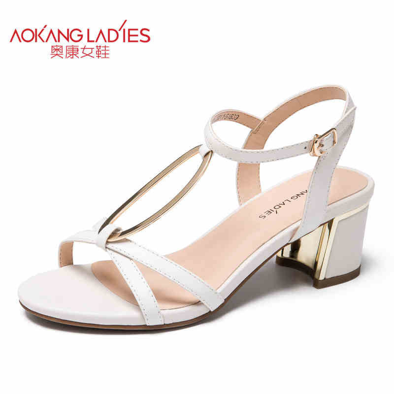 AOKANG 2017 Women Summer Shoes genuine leather shoes Fashion Summer
