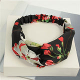 Bohemian Style Elastic Headbands Boho Cross Floral Turban Girls Flower