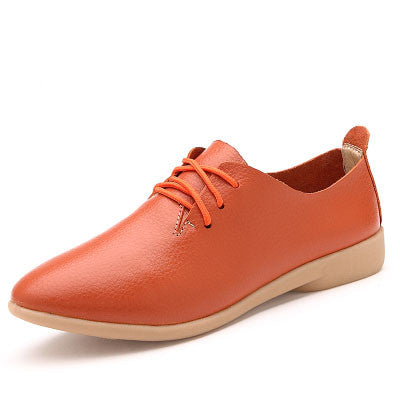 Autumn spring new lace-up leather women flat white shoes pointed toe