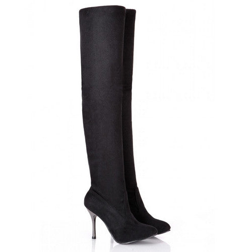 BONJOMARISA New Over The Knee High Boots Women Winter Shoes Big Size