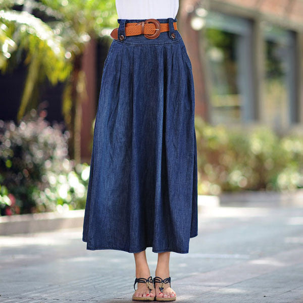 Sokotoo Women's casual wide flare skirt Lady's large size ankle length